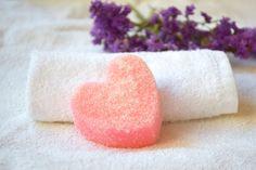 Sugar Scrub soap Heart Rose oil solid scrub by CuteThingsOnEtsy