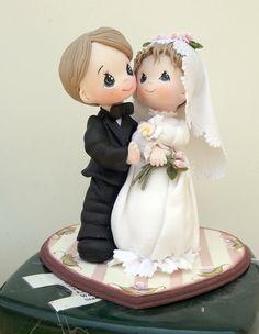 novios en pasta flexible Fondant Wedding Cakes, Custom Wedding Cake Toppers, Wedding Topper, Sculpey Clay, Polymer Clay Projects, Polymer Clay Creations, Wedding Cake Figurines, Fondant People, Wedding Doll