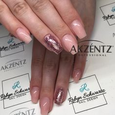 So simple and pretty - natural pink and glitters on coffin gel nails