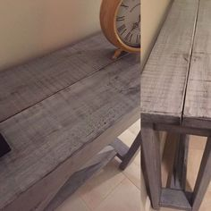 rustic x hall table, painted furniture End Table Makeover, Cedar Headboard, Rustic Diy, Table, Diy Entryway, Dark Wood Dining Table, Hall Table, Home Deco, Home Decor