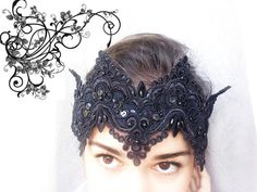 Black fascinator Black crown Lace crown Special event Halloween headband Evil queen crown by ObodkiJM on Etsy Off White Wedding Dresses, Wedding Dresses With Straps, Rustic Wedding Dresses, Wedding Dresses Plus Size, Princess Wedding Dresses, Colored Wedding Dresses, Lace Weddings, Wedding Lace, Dress Wedding