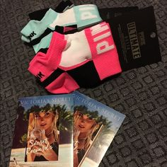 VS Pink Sock Bundle w/free gift ($20 value)! BNWT, Bundle of 2 Sets of VS Pink no-show socks (each pkg has 2 pairs - turquoise & pink sets avail).  comes w/ur choice of 2 VS $10 Reward Cards or VS rollerball perfume (VS Bombshell, VS Victoria's Secret Angel or VS Tease).  cards exp, 4/27, but I can always email u the codes:) PINK Victoria's Secret Accessories Hosiery & Socks