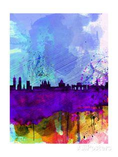 Madrid Watercolor Skyline   Par: NaxArt N° de l'article : 10566674