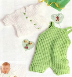 Bergere de France Babies Knitting Patterns Overall & Cardigan Knitting Pattern