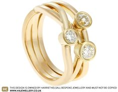 Carole had inherited three engagement rings that she wanted to combine into one design. Using yellow gold, we kept the feel of the three rings by incorporating an interwoven design, with each strand holding one of the diamonds, totalling in weight. Jewellery Designs, Ring Designs, Three Rings, Gold Diamond Rings, One Design, Diamonds, Engagement Rings, Yellow, Jewelry