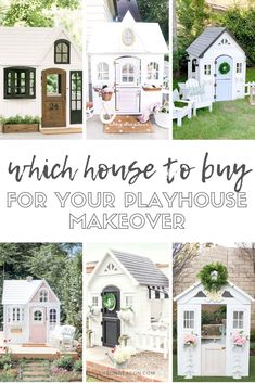 The Ultimate Playhouse Makeover: The top 5 styles of house to buy all the details about where to get them dimensions and style inspiration. Hack your playhouse! Toddler Playhouse, Girls Playhouse, Diy Playhouse, Playhouse Outdoor, Outdoor Play, Outdoor Spaces, Outdoor Living, Outdoor Decor, Playhouse Interior