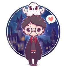 Feel like I've upped my chibi game the last half year! 😊✨ it's really fun watching my style develop over time (and I'm pretty proud of the Hogwarts background too haha 😅) Fanart Harry Potter, Harry James Potter, Harry Potter World, Arte Do Harry Potter, Harry Potter Cartoon, Cute Harry Potter, Theme Harry Potter, Harry Potter Drawings, Harry Potter Wallpaper