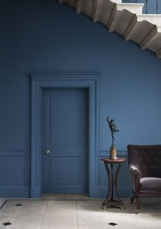 Painting the walls and doors in the same colour is a game changer. Get your inspiration from the UK's No1 colour inspiration blog Seasons in Colour Blue Blood Paint and paper library