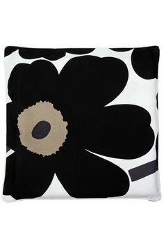 """Unikko/Varvunraita 24"""" Pillow Cover Black/Khaki/White"""