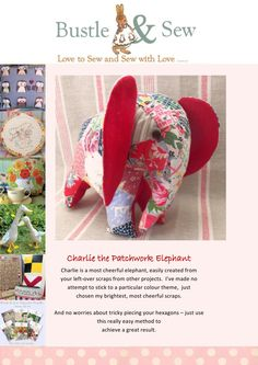 Charlie the Patchwork Elephant  Wonderful multi-coloured soft toy pattern for Charlie, the Patchwork elephant.