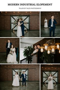 This modern industrial elopement has all the trendy elements with a brick wall, string lights, unique light fixtures, and a mixture of rustic with the barn doors. To see more of this modern elopement visit Teller of Tales Photography. Wedding Songs, Wedding Couples, Wedding Photos, Industrial Wedding, Modern Industrial, Bride And Groom Pictures, Wedding Photography Inspiration, Plan Your Wedding, Brick Wall