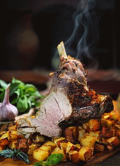 Roast lamb so good, you can almost smell it through the screen! *drools*  Food art by Tumblr Creatr Daria K