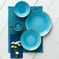 Beautiful turquoise dinnerware & Loving the Linen Textured Dinnerware Set from @WestelmUK | pretty ...