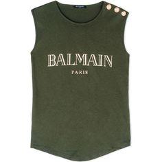 Balmain Sleeveless T-Shirt (835 RON) ❤ liked on Polyvore featuring tops, t-shirts, shirts, blusas, tank tops, military green, sleeveless t shirt, military fashion, balmain t shirt and military t shirts