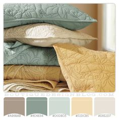 Sage green and gold color scheme, guest bedroom maybe?