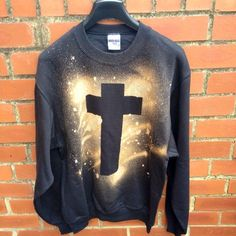 Grunge Tie Dye Acid Wash Cross Crusifix Galaxy Print 90s Sweatshirt Mens Womens