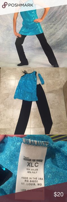 Dance Costume Blue sequined dance costume. 3 piece set. Worn one time for a dance recital. The top is a children's size XL. The bottoms are a children's size L.                                                       💠Bundle with other items for a discount💠 Costumes Dance