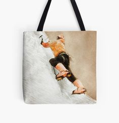 Large Bags, Small Bags, Cotton Tote Bags, Reusable Tote Bags, Sports Art, Medium Bags, Climbing, Stylish, Small Sized Bags
