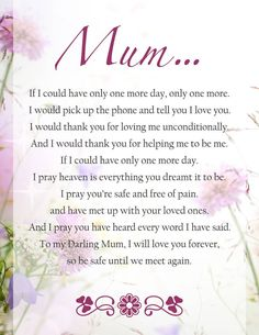 Quotes Mum, Funeral Poems For Mom, Mum Poem, Funeral Readings Funeral Poems For Mom, Mum Poems, Mother Poems, Funeral Quotes, Mother Quotes, Eulogy For Mom, Grief Poems, Miss You Mum, Love You Mom