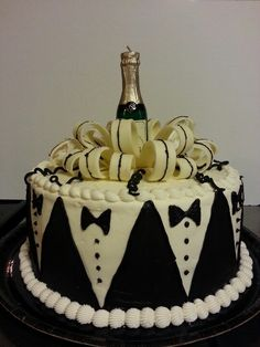 Birthday Cakes For Men, Birthday Cake For Husband, Art Deco Cake, Tuxedo Cake, Single Tier Cake, Dad Cake, Just Cakes, Baking And Pastry, Elegant Cakes