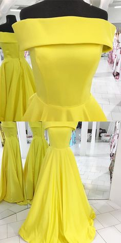 2017 prom dress, long prom dress, yellow prom dress, off the shoulder prom dress, simple prom dress