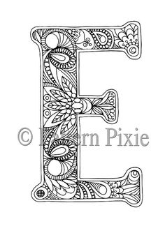 Adult Colouring Page Alphabet Letter E by PatternPixie on Etsy