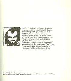 """Autorretrato monocromo y texto autobiográfico. 1era página del libro """"¿Quién es Fontanarrosa?"""""""