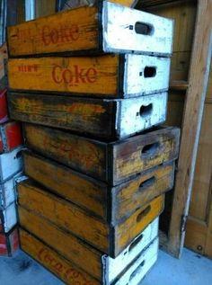 Oude Vintage Coca Cola Kistje Frisdrank Krat Geel