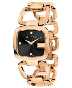 This watch is art! Gucci Watch, Women's Swiss G-Gucci Diamond Accent Pink Gold PVD Stainless Steel Bracelet 32x30mm YA125409