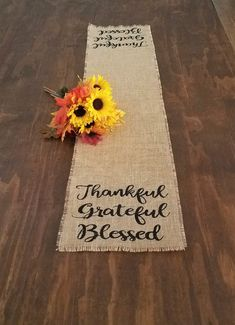 Burlap Thanksgiving Runner And Thanksgiving Placemats, Rustic Thankful Grateful Blessed Table Decora
