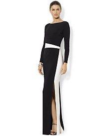 Lauren Ralph Lauren Long-Sleeve Colorblocked Gown