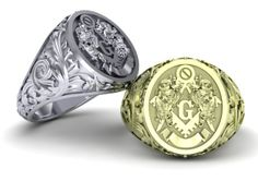 Masonic ring in solid 10K gold by 3DHeraldry on Etsy, $818.00