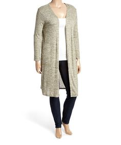 This Sage Heather Elbow-Patch Open Duster - Plus is perfect! #zulilyfinds
