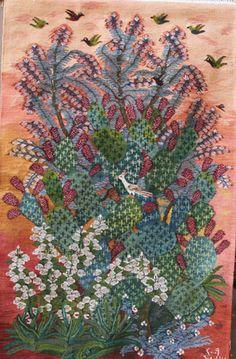 Cactus & Bottlebrush Tree by Nadia Mohamed X m Bottlebrush, Egyptians, Tapestry Weaving, Fabric Art, Yarn Crafts, Tapestries, Fiber Art, Needlework, Centre