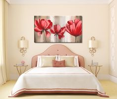 Cuadro de flores grandes rojas Flower Painting Canvas, Oil Painting Flowers, Canvas Wall Art, Kirkland Furniture, Budget Planer, Bedroom Accessories, Living Room Pictures, Guest Bedrooms, Contemporary Bedroom
