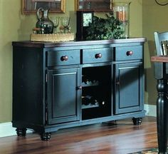 Good 729 Series Server In Distressed Rub Through Black And Cherry By Woodbridge  Home Designs.