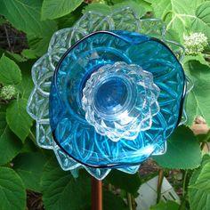 glass yard art images | Garden art glass flower suncatcher plant stake yard ornament sculpture ...