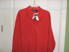 Patagonia Classic Bright Red Long Sleeve Polo Cotton Shirt SZ L Quick Ship NWT #Patagonia #PoloRugby