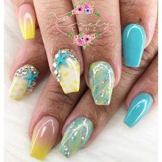 Yellow Blue Nails 32 #bluenails