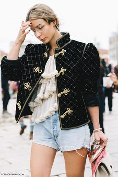 Street Style_ Elizabethan inspired cropped quilted velvet jacket worn back with vintage blouse & light denim  || Saved by Gabby Fincham ||