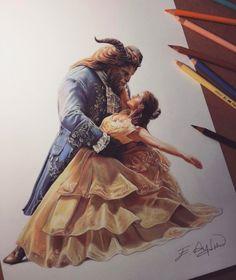 Belle drawing, drawing artist, beauty and the beast artwork, disney bea Arte Disney, Disney Art, Art Drawings Sketches, Disney Drawings, Beauty And The Beast Art, Color Pencil Art, Art Sketchbook, Amazing Art, Artwork