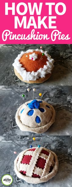Fall signals the start of Holiday baking- or in this case, sewing that looks like Holiday baking! These fun little pincushion pies are made from small amounts of felt fabric and then glued onto Mason jar lids to finish them off. Whip up a batch today to use in your sewing room or give as a gift this Holiday season!