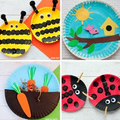 Paper plate spring crafts: bee, ladybug, carrots in the garden and bird.