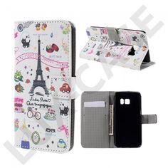 Moberg Læder-etui med kortholder og indbygget stander til Samsung Galaxy S7 - Liv omkring Eiffeltårnet