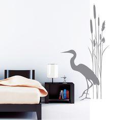 Wandtattoo+Badezimmer+Schilf+Kranich+Bambus+von+Wandtattoo-Loft+auf+DaWanda.com