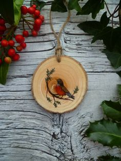Rustic Hanging Ornament: American Robin by AliceCEades on Etsy