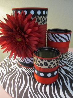 Cute for bathroom decor!  Set of 3 ANIMAL PRINT Decorative TINS/Cans