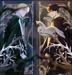 """rewatched Harry Potter moives,fall in love with""""Drarry""""again. Harry Potter Fan Art, Harry Potter Anime, Harry Potter Draco Malfoy, Harry Potter Drawings, Harry Potter Ships, Harry Potter Universal, Harry Potter Fandom, Harry Potter Memes, Ginny Weasley"""