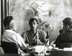 Rinus Michels, Johan Cruyff, Tonnie Bruins Slot during a dinner in Barcelona
