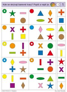 LOGICO PICCOLO | Vizuální vnímání | Oko a ruka - Skrývačky | Didaktické pomůcky a hračky - AMOSEK Visual Perception Activities, Numicon, Preschool Worksheets, Thinking Skills, Pattern Blocks, Speech Therapy, Special Education, Kindergarten, Learning